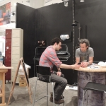 """Preshow Setup. Avi and David discuss final """"live-art"""" concepts in preparation for day one of ICFF."""